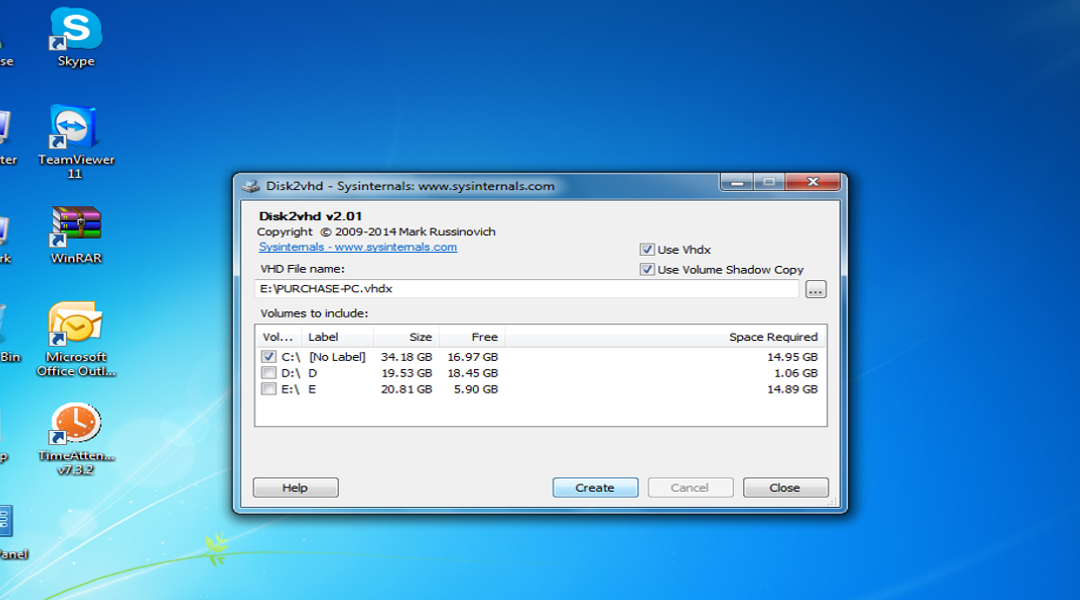How to create Vhd from Physical Disk